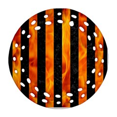 Stripes1 Black Marble & Fire Round Filigree Ornament (two Sides)