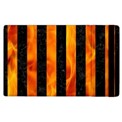 Stripes1 Black Marble & Fire Apple Ipad 3/4 Flip Case
