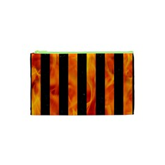 Stripes1 Black Marble & Fire Cosmetic Bag (xs)