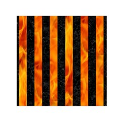 Stripes1 Black Marble & Fire Small Satin Scarf (square)