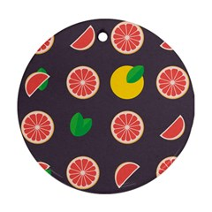 Wild Textures Grapefruits Pattern Lime Orange Round Ornament (two Sides)