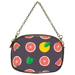 Wild Textures Grapefruits Pattern Lime Orange Chain Purses (one Side)