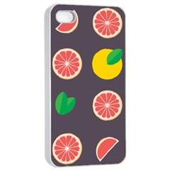 Wild Textures Grapefruits Pattern Lime Orange Apple Iphone 4/4s Seamless Case (white)
