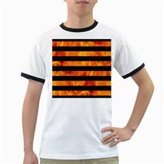 Stripes2 Black Marble & Fire Ringer T Shirts