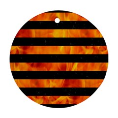 Stripes2 Black Marble & Fire Round Ornament (two Sides)