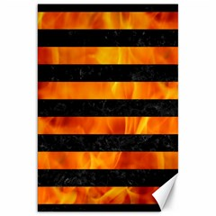 Stripes2 Black Marble & Fire Canvas 20  X 30