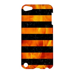 Stripes2 Black Marble & Fire Apple Ipod Touch 5 Hardshell Case