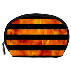 Stripes2 Black Marble & Fire Accessory Pouches (large)