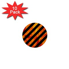 Stripes3 Black Marble & Fire 1  Mini Buttons (10 Pack)