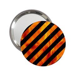 Stripes3 Black Marble & Fire 2 25  Handbag Mirrors