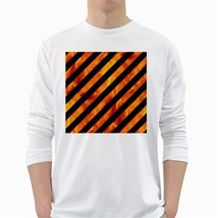 Stripes3 Black Marble & Fire White Long Sleeve T Shirts