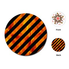 Stripes3 Black Marble & Fire Playing Cards (round)