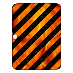 Stripes3 Black Marble & Fire Samsung Galaxy Tab 3 (10 1 ) P5200 Hardshell Case