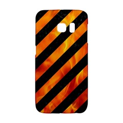 Stripes3 Black Marble & Fire Galaxy S6 Edge