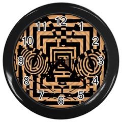 Wooden Cat Face Line Arrow Mask Plaid Wall Clocks (black)