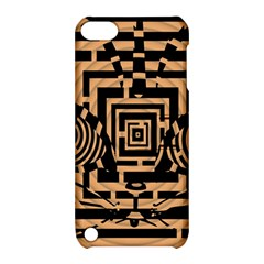 Wooden Cat Face Line Arrow Mask Plaid Apple Ipod Touch 5 Hardshell Case With Stand