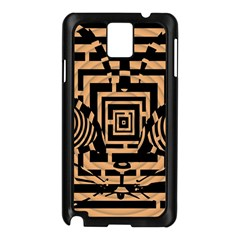Wooden Cat Face Line Arrow Mask Plaid Samsung Galaxy Note 3 N9005 Case (black)