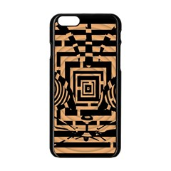 Wooden Cat Face Line Arrow Mask Plaid Apple Iphone 6/6s Black Enamel Case