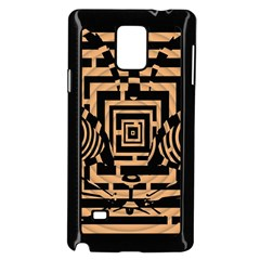 Wooden Cat Face Line Arrow Mask Plaid Samsung Galaxy Note 4 Case (black)