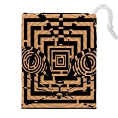 Wooden Cat Face Line Arrow Mask Plaid Drawstring Pouches (xxl)
