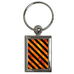 Stripes3 Black Marble & Fire (r) Key Chains (rectangle)