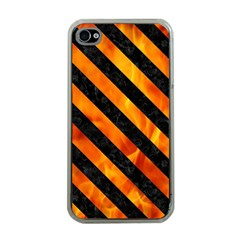 Stripes3 Black Marble & Fire (r) Apple Iphone 4 Case (clear)