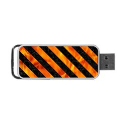 Stripes3 Black Marble & Fire (r) Portable Usb Flash (one Side)