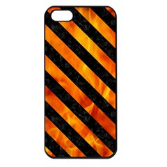 Stripes3 Black Marble & Fire (r) Apple Iphone 5 Seamless Case (black)