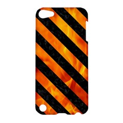 Stripes3 Black Marble & Fire (r) Apple Ipod Touch 5 Hardshell Case