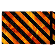 Stripes3 Black Marble & Fire (r) Apple Ipad 3/4 Flip Case