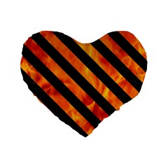 Stripes3 Black Marble & Fire (r) Standard 16  Premium Heart Shape Cushions