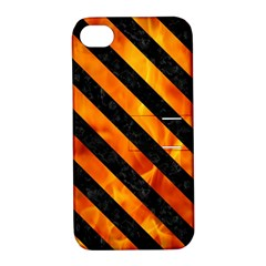 Stripes3 Black Marble & Fire (r) Apple Iphone 4/4s Hardshell Case With Stand