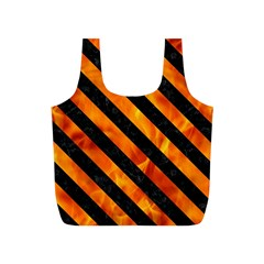 Stripes3 Black Marble & Fire (r) Full Print Recycle Bags (s)
