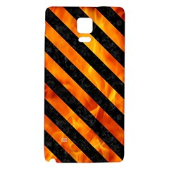 Stripes3 Black Marble & Fire (r) Galaxy Note 4 Back Case
