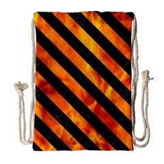 Stripes3 Black Marble & Fire (r) Drawstring Bag (large)