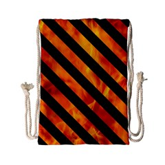 Stripes3 Black Marble & Fire (r) Drawstring Bag (small)