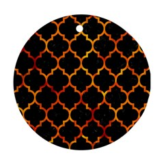 Tile1 Black Marble & Fire Ornament (round)