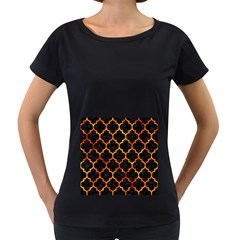 Tile1 Black Marble & Fire Women s Loose Fit T Shirt (black)