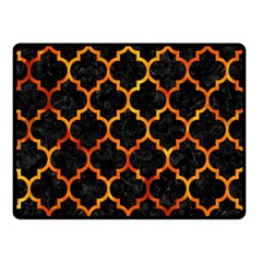 Tile1 Black Marble & Fire Double Sided Fleece Blanket (small)
