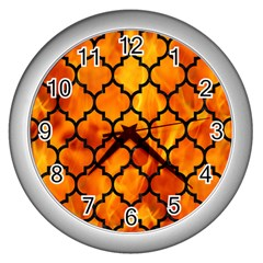 Tile1 Black Marble & Fire (r) Wall Clocks (silver)