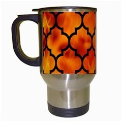 Tile1 Black Marble & Fire (r) Travel Mugs (white)
