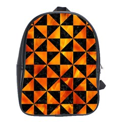 Triangle1 Black Marble & Fire School Bag (large)
