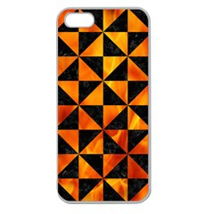 Triangle1 Black Marble & Fire Apple Seamless Iphone 5 Case (clear)