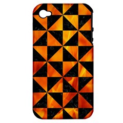 Triangle1 Black Marble & Fire Apple Iphone 4/4s Hardshell Case (pc+silicone)