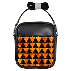 Triangle2 Black Marble & Fire Girls Sling Bags