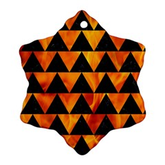Triangle2 Black Marble & Fire Ornament (snowflake)