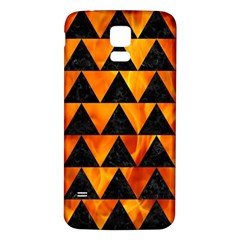 Triangle2 Black Marble & Fire Samsung Galaxy S5 Back Case (white)