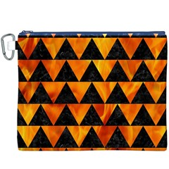 Triangle2 Black Marble & Fire Canvas Cosmetic Bag (xxxl)