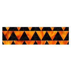 Triangle2 Black Marble & Fire Satin Scarf (oblong)