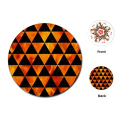 Triangle3 Black Marble & Fire Playing Cards (round)